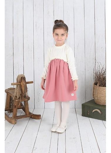 Nila Kids Ekru Rengi Robalı Kız Bebek Organik Elbise NK09006E (6 AY- 5 YAş) Ekru